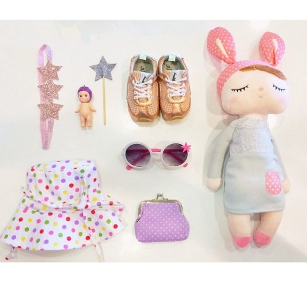 moppit and more sleeping doll soft toy and flat lay arrangement.